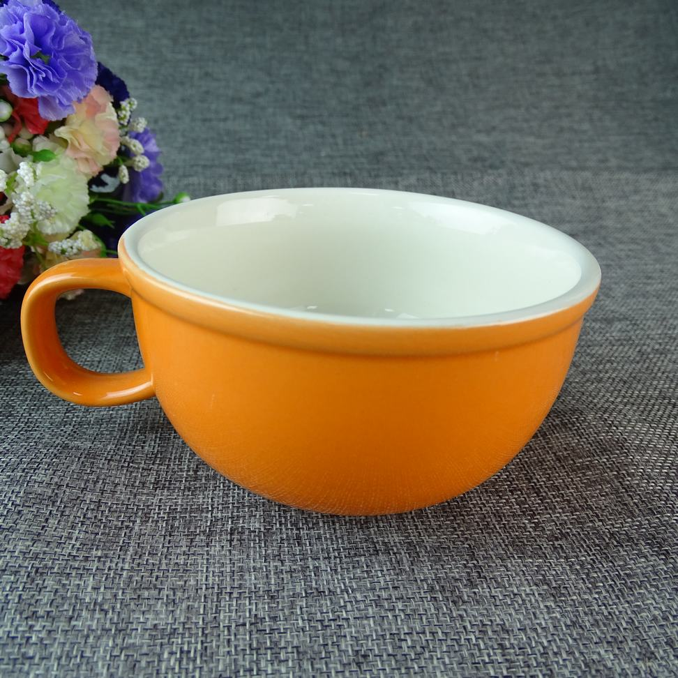 Fashion Large Pot-bellied Orange Ceramic Coffee Bowl cup Stoneware Mug For Young People