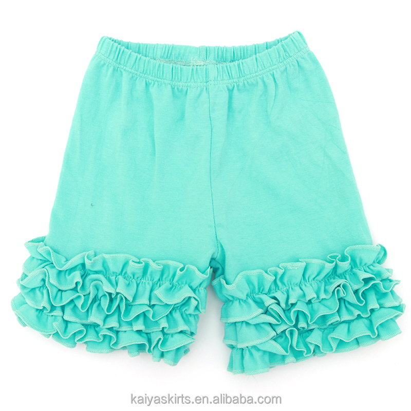 Summer dropship kids clothes multicolored cotton shorts solid baby icing ruffle pants