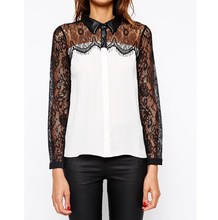 Plus Size Formal Summer Chiffon Shirt Women Eyelash Lace Long Sleeve Casual Blouses