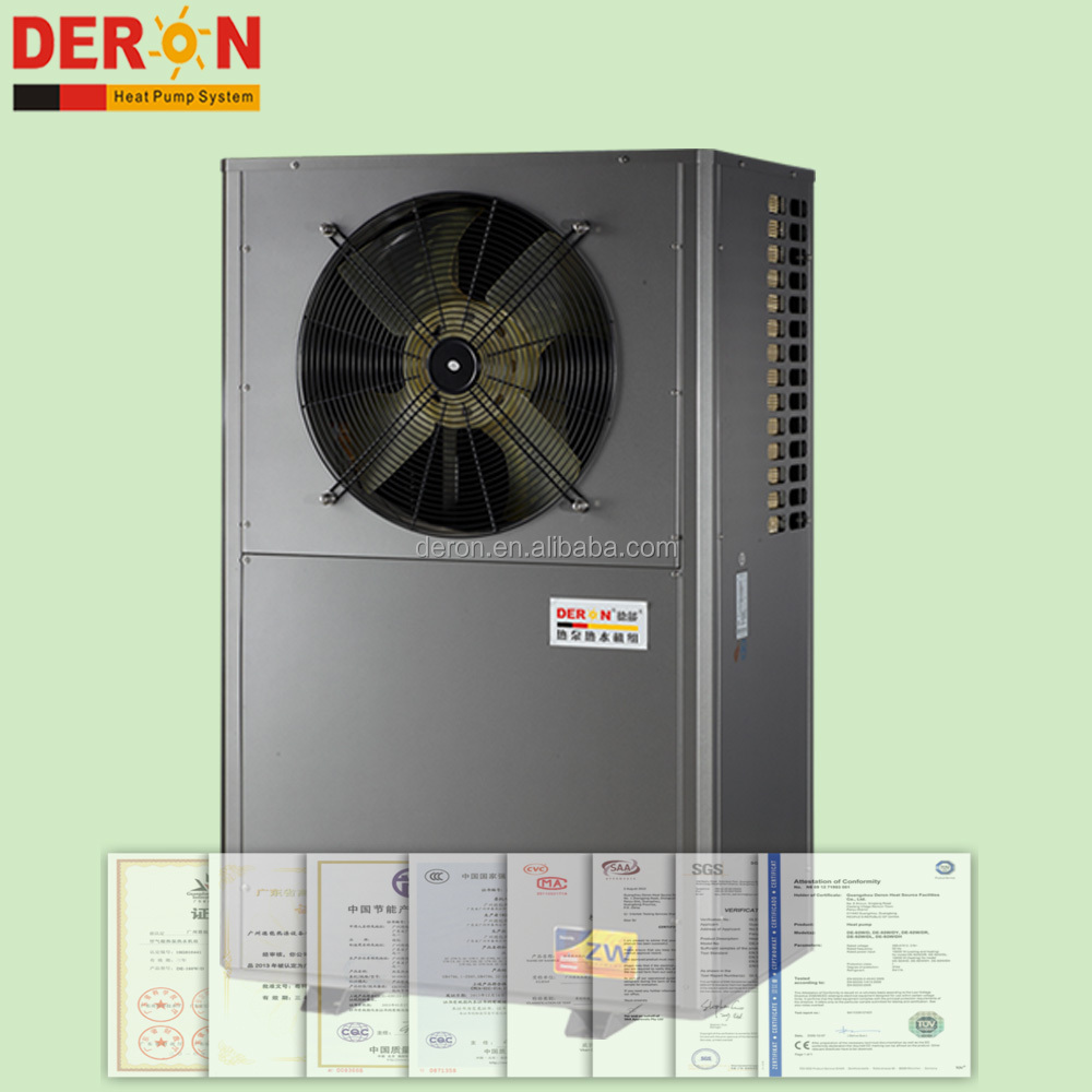 High COP split type wall mounted air souce hot water heat pump for house heating and central DHW system from Guangzhou Deron