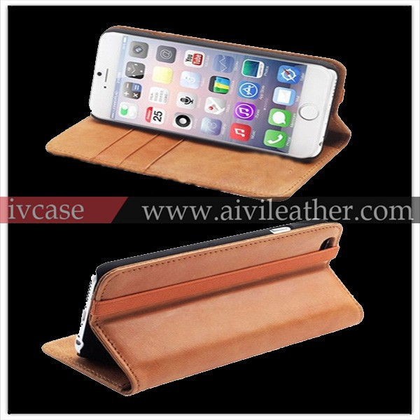 Alibaba manufacturing leather belt clip flip wallet phone case for iphone 6