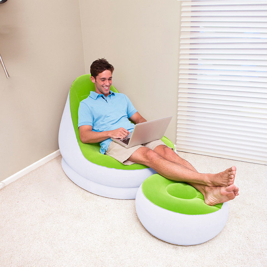 BESTWAY Comfort Cruiser Inflate-A-Chair Inflatable Sofa plus Footstool Inflatable Furniture