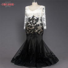 Lady Lace Transparent Sexy Black and White Formal Mermaid Evening Dresses with Long Sleeves
