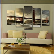 wholesale 5 panels/set custom canvas art landscape oil painting printing printed prints