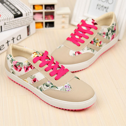 SF1030 2014Spring Little Fresh Floral Canvas Shoes College Students Wind Leisure Striped Canvas Shoes