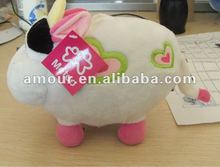super cute stuffed milk cow toy soft cartoon cattle with heart embroidered new toys for christmas 2013 best gifts for kids lover
