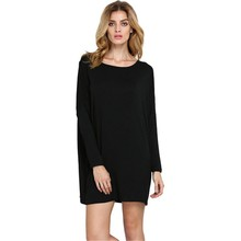 Casual Loose Long Sleeve 100% Cotton Blank T-shirt Women Dress