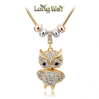 Gold Plated Cute Full Faux Rhinestones Owl Pandent Necklace For Women