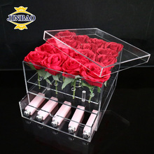 JINBAO Wholesale simple rose box acrylic flower box vase stands