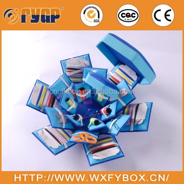 small blue color folding sewing box
