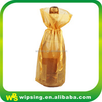 Gold Drawstring Organza Champange Wine Bottle Bag