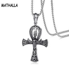 Egyptian Jewelry Retro Men's Stainless Steel Ankh Cross Pendant Necklace Homme
