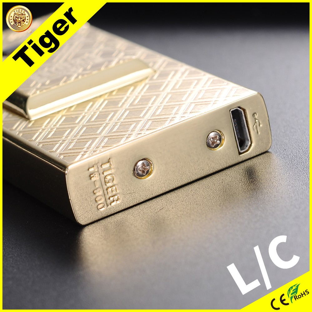 Low MOQ Electric 2017 Tiger 900-S-01 Popular Promotional Bic Case Rechargeable Lighter