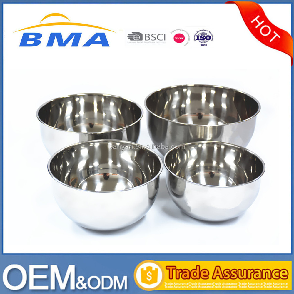 2017 New Polish Stainless Steel Mixing Bowl Set 16,18,20,24cm