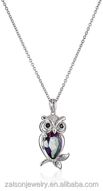 Sterling Silver with Mystic Fire Topaz, Black Diamond, and White Diamond Owl Pendant Necklace, 18