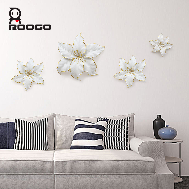Wholesale ROOGO 3D resin decoration lily flower wall <strong>art</strong> for office online