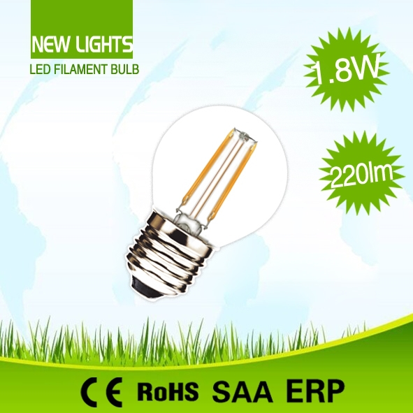 Hot new product China supplier clear glass or milky glass cover g45 2w 6500k led filament bulb