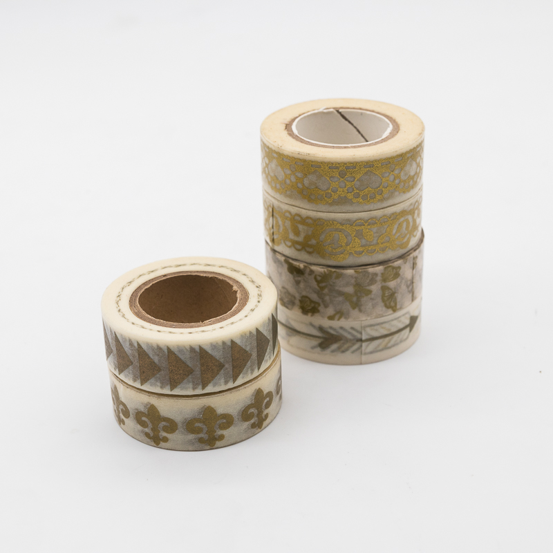 custom printed geometric patterns gold foil adhesive washi tape