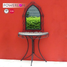 Elegant Unique Antique Superior Craft Wrought Iron and Wooden Console Table With Mirror