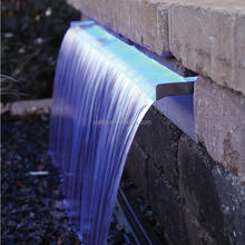 Factory supply stainless steel water spillway water falling down with colorful LED stripe