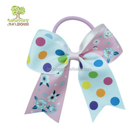 printed logo cheer leading bows,polka dots cheer bows ponytail