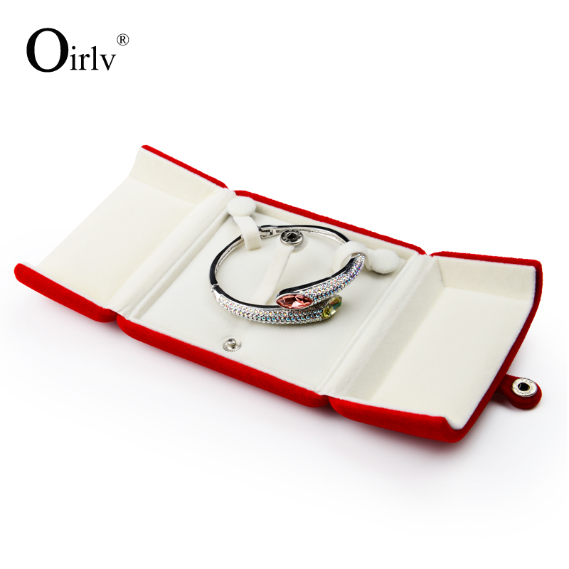 Oirlv factory custom plush button jewelry boxes exhibition ring pendant necklace packing display gift velvet bracelet box