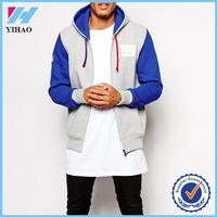 Yihao 2015 new fashion men 100% cotton long sleeve contrast color gym hoodie custom made zip up tall hoodies wholesale