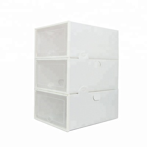 VOZVO PP plastic storage box packaging stackable drop front shoe box