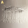Modern simplify custom tree branch shape glass drops led lighting chandeliers for home living room or lobby
