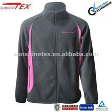 Men's black pink 100% polyester fleece warm new embroidery jacket