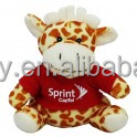 cute sitting plush stuffed Giraffe with logo red t-shirt