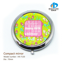 HX-7130 Professional Travel Portable Compact Pocket Crystal Folding Makeup Mirror