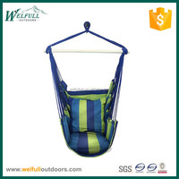 Indoor and outdoor Polyester canvas swing hammock chair with pillows