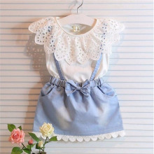 New Cute White Princess Belt Denim Dress Kids Summer Dress And Sleeveless Cotton T-shirt Kids Girls Clothes Set A041