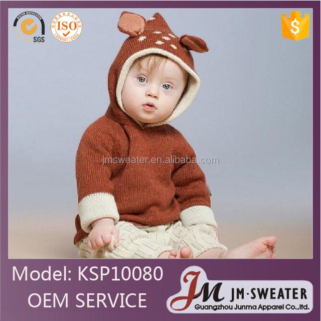 High quality deer jacquard knitting kids pullover sweater custom animal ear baby boy hoodies