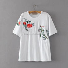 2017 Ms summer wear new floral embroidery loose short sleeve T-shirt