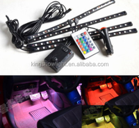 4pc 7 Color LED Interior Underdash Neon Accent Lights Kit with Wireless Sound Controller