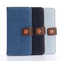Cusual Cowboy Jeans Style Wallet Flip PU Leather Mobile Case for Iphone 7