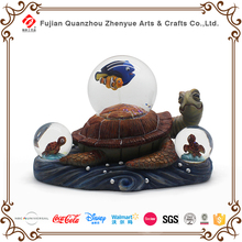 2017 new product animal landscape snowglobes high quality resin glass turtles snow globe