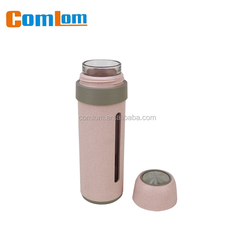 CL1C-GA803 Wheat Comlom New Eco-friendly Wheat Straw Bottle Glass Water Bottle