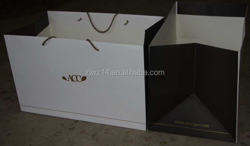 2015 fashion gift paper bag with ribbon handle/ food package/ luxury shopping paper bags