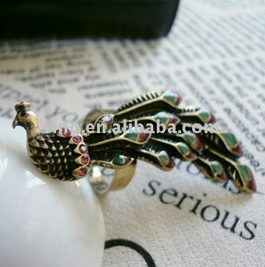 Retro bronze colorful peacock jewelry finger ring