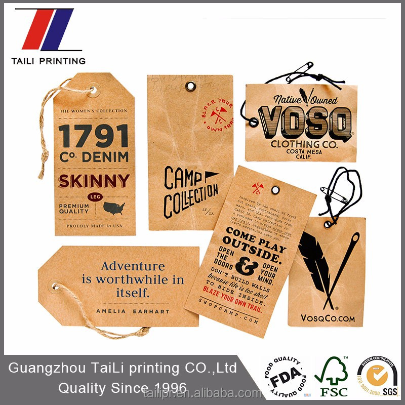 Custom recycled paper hang tags for clothing/kraft paper jeans hang tag printing