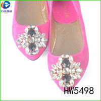 HW5498 The glass shoe clips decorated metal spring clip