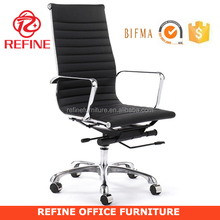 high quality high back incredible chrome executive ripple black leather office chair RF-S074D