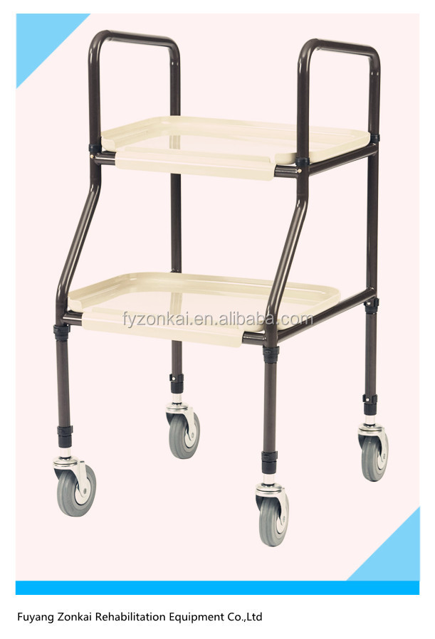 High Quality Steel Medical Four Wheel Flat Cart Hand Trolley