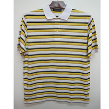 mens Wholesale Bulk yarn dyed stripe Polo t Shirt with jacquard