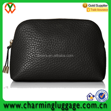 high quality soft black leather pu cosmetic bag