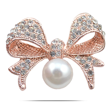 B175 Pearl Bowknot Brooch For Women 18K Gold And Silver Plated Rhinestone Brooch Jewelry & Jewellery Christmas Gift Brooch Pin