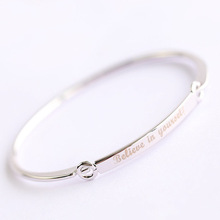Korean Simple Jewelry Silver Plate Copper Custom Letter Women Bracelet Wholesale